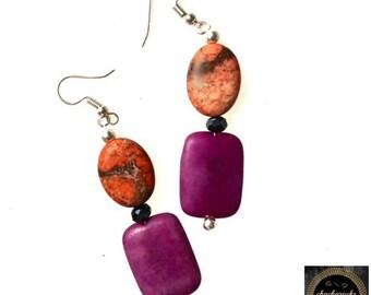 Natural stone earrings, extra long earrings, boho earrings, rustic earrings, boho chic, gift for women, long dangle earrings