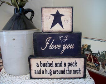 I Love You a Bushel and a Peck Block Set.  CUSTOM I Love You Gift.  Special Just Because Gift.