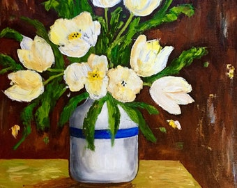 White tulips in a vase