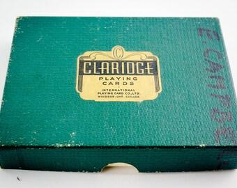 Cartes à jouer vintages Claridge.
