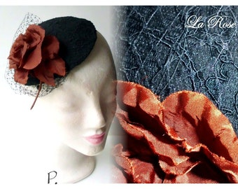 Hat, cocktail hats, headpiece, fascinator/vintagelook/black, golden brown/size.: One size; 17 cm diameter