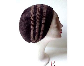 Beanie; Slouch; Cap; Crochet Hat Retrolook / Brown / Unisex / Size: M