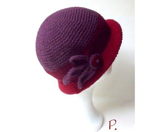 Hat; Cloche; Flapper; Crochet hat in VintageStyle / 20's Jahre_Look / purple, red / size: S