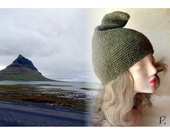 "zip hat; dwarf hat; Pixie hat / green / original Iceland wool: Istex ""Léttlopi"" / Gr. L-M"