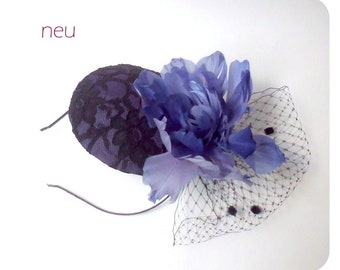Fascinator; Headpiece; Mini hat with hair riding/lace, silk, feathers, hat tulle/black, purple/one size/14.5 x 13 cm
