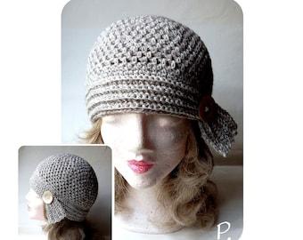 Mütze; HäkelHut; Kappe im VintageStyle / hellbraun-creme meliert / Gr.: M - L