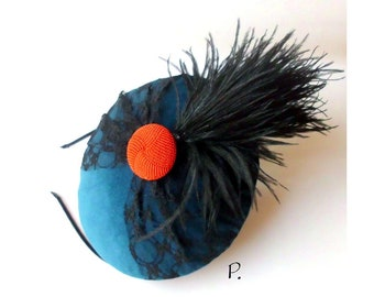 Hat;  Cocktail hats; Headpiece; Fascinator / Vintage Look / Turquoise, Black, Red / Size: One size; 15.5 x 14.0 cm