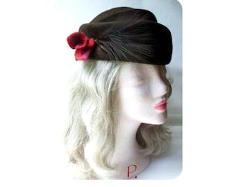 Hat; Cocktail hat; Felt hat / upcycled / wool felt / brown / size: M