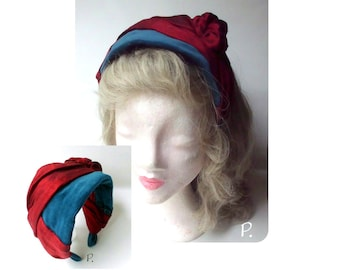 For theater, theme party, summer party / half hat; half hat; Cocktail hats / in VintageStyle / turquoise, red / one size