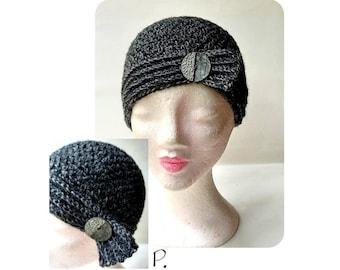 cap; Crochet Hat; Cap in VintageStyle / Anthracite; Black / Size: M