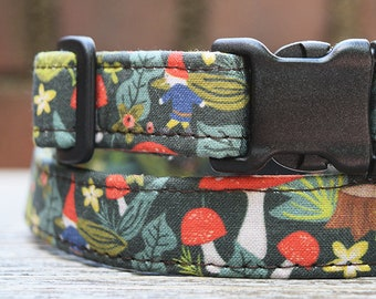 Enchanted Forest Dog & Cat Collars/Woodland Creatures/Gnome Mushroom Pattern/Dog Collars Tiny to Huge/Cat Collars/Handmade USA/Rose City Pup