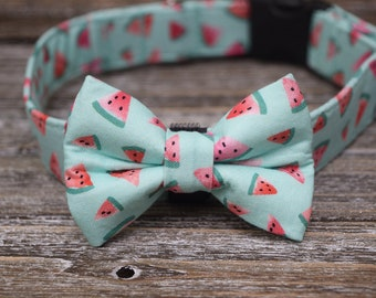 d63b99ad3313 The Watermelon Wonders Pink & Teal Pet Collar and Bow Tie Set by Rose City  Pup- Dog Or Cat Collar and Bow Tie Made in Portland Oregon