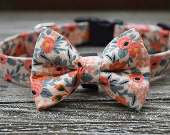 6b815e0c0578 The City Of Roses Floral & Pink Pet Collar and Bow Tie Set by Rose City  Pup- Dog or Cat Collar and Bow Tie Made In Portland Oregon