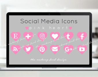 Pink Heart Social Media Icons (75px x 75px)