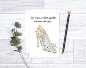 She Leave a Little Sparkle Wherever She Goes - Cinderella Jimmy Choo Shoe - Note Cards - Jimmy Choo - Shoe Lover - Cinderella