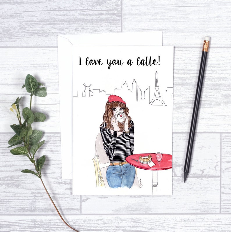 I LoveYou a Latte  Note Cards  4x6  Individual image 0