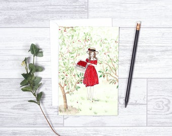 """Ma Cerisier - Note Cards - 4""""x6"""" - Cherries - Individual - Greeting Card - Cherry Love - Cherry Picking - Gifts For Her - Cherry Tree"""