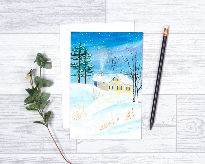 Winter Cottage   Note Cards  4x6  Individual  image 0