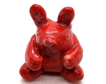 Kawaii Red Rabbit with Pink tail, Kawaii Porcelain figurine, cute gift, Home decor