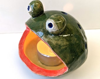 Green froggie candle holder, small plant dish, pottery, home decor, fun gift
