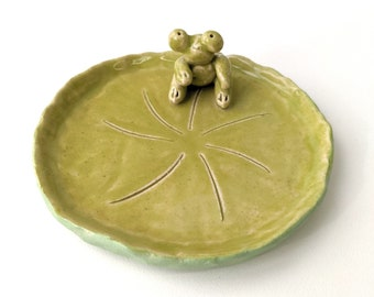 Chertreuse froggie /Turquoise blue jewelry dish, pottery, jewelry dish, small dish, home decor. cute gift
