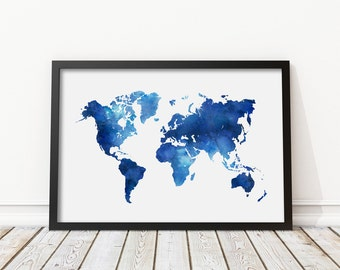 Watercolor world map etsy popular items for watercolor world map gumiabroncs Images