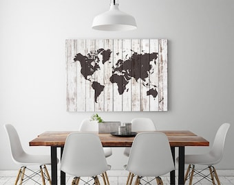 Printable instant modern art by greenlifeprints on etsy large white wood world map print rustic wood world map poster driftwood home wall decor 24x36 inches canvas printable instant download gumiabroncs Image collections