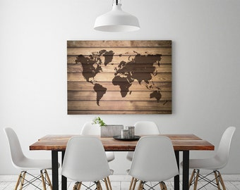 Large watercolor world map push pin canvas detailed world map canvas large wood world map print rustic wood world map poster driftwood home wall decoration gumiabroncs Images