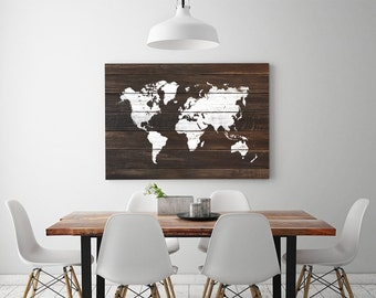large wood world map print whit paint wood world map poster driftwood home wall