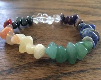 Crystal chakra bracelet gemstone boho