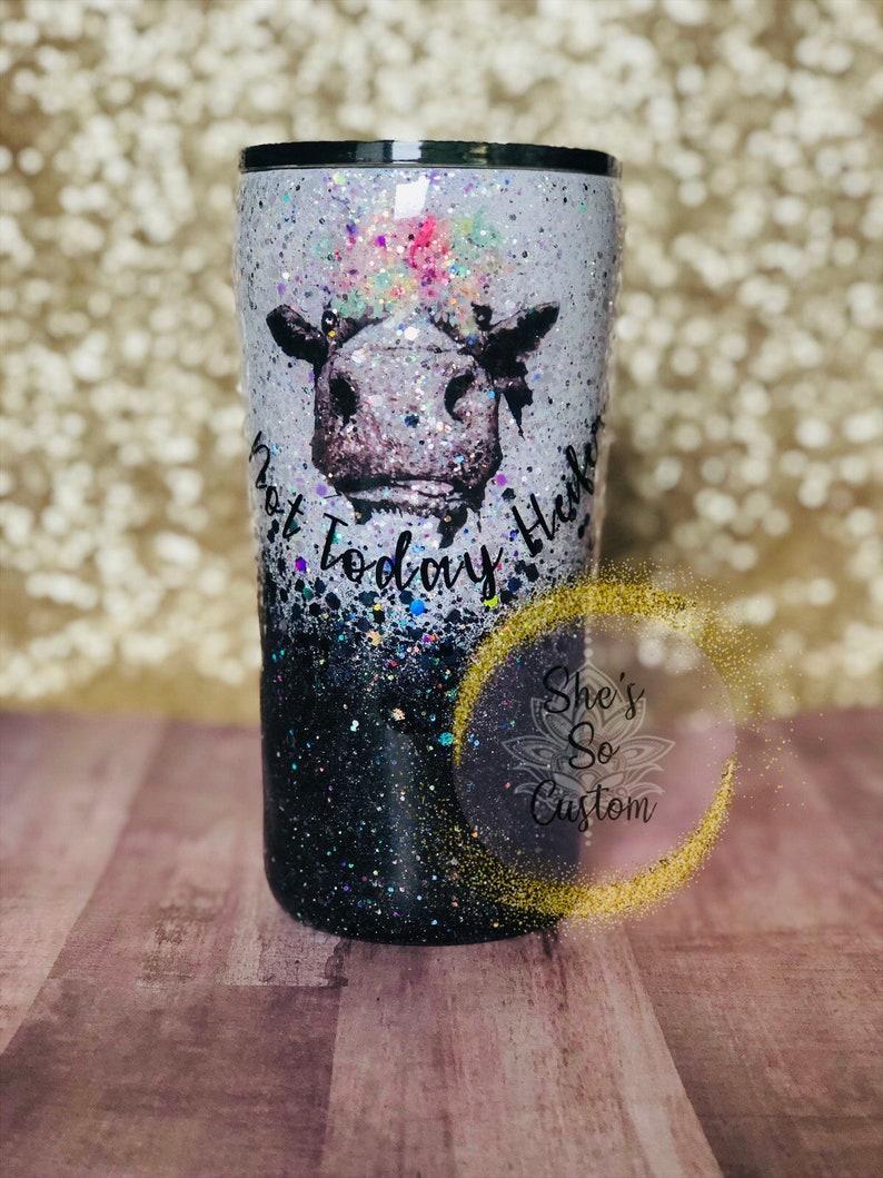 c68f3e0c03b Personalized Not Today Heifer Tumbler/ Glitter Tumbler/ Cow | Etsy