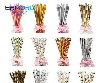 baby blue baby Shower paper straw  mix pink Paper Straws Party Straws  party supplies rose gold gender rose gold