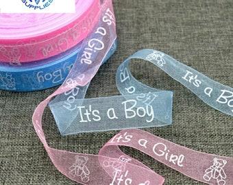 Its a Boy Girl Baby Shower Blue Pink Organza Ribbon 1 Yard *Buy 2 get 10/% off*