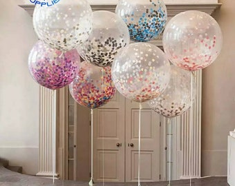 Free Shipping 36 Inch Giant Confetti Balloons Gold Clear Balloon Inflatable Wedding Marriage Happy Birthday Party Decoration Latex