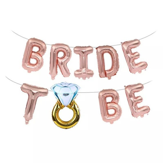 """GOLD /""""BRIDE TO BE/"""" LETTER BALLOON DECORATION 16/"""" UK SELLER"""