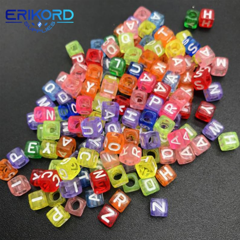 100pcs 6mm Acrylic Spacer Beads Letter Beads Square Alphabet Beads For Jewelry Making DIY ABC Beads Alphabet Beads Letter Cube Beads Small
