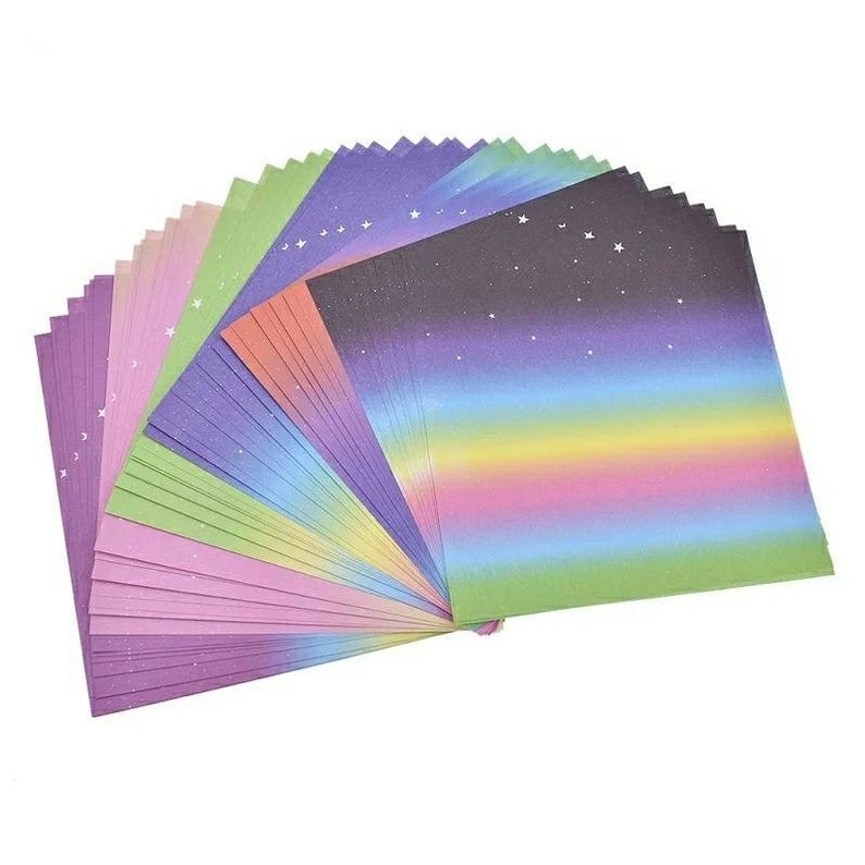 Free Shipping 48 Sheets Multicolor Gradients Colored Rainbow Origami Paper Single Sided Square Kids Art Crafts Scrapbooking Origami Crafts