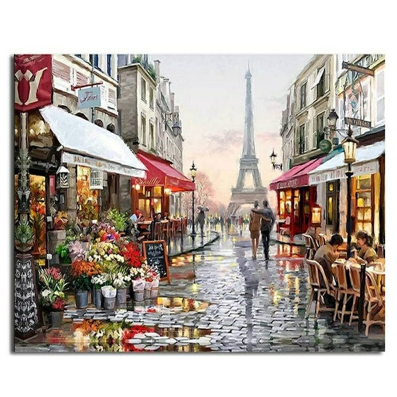 Paris France Abstract Painting Tower Landscape DIY Painting By Numbers Kit Set