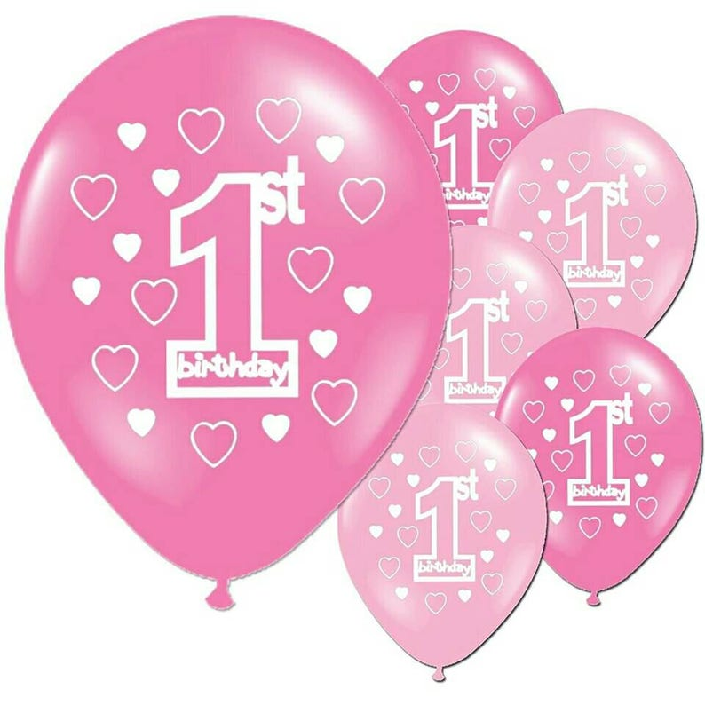 4f9e52d56 Free Shipping 10pcs Pink Girl s 1st Birthday Balloons