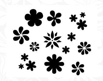 Flower Power  Stencil Template Scrapbooking Art Card Making