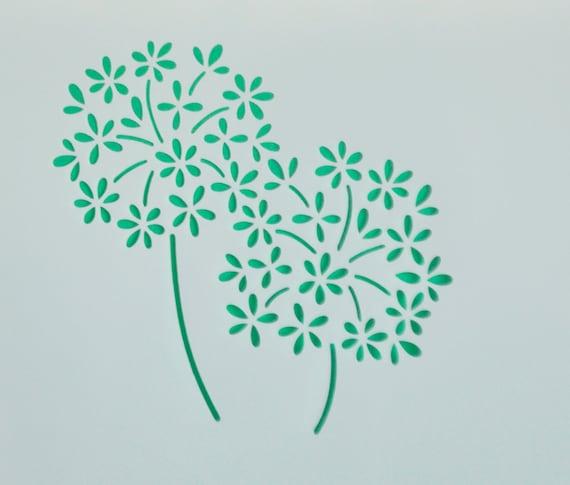 dandelion flower stencil template scrapbooking art card making etsy