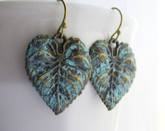 leaf earrings botanical garden verdigris green jewelry green gift owlsnroses, verdigris leaf earrings, botanical earrings, leaf earrings