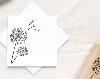 Set of 8 CUSTOM Personalized Flat Note Cards Stationery Dandy Dandelion Square
