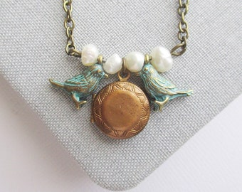 two bird necklace locket woman owlsnroses small jewelry Mom gift, necklace mom, bird necklace, locket necklace for woman