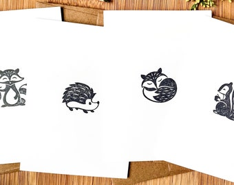 blank stationery note cards with woodland animals, mailable note card set with envelopes, 3.5 in x 4.8 in folded cards, stocking stuffer