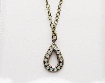 opal necklace pacific green teardrop pendant owlsnroses jewelry, opal necklace, opal jewelry
