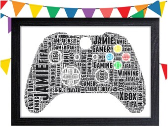 personalised word art gift gamer gift games controller gift for gamer wall art wall prints wall art wall decor gift wall art prints