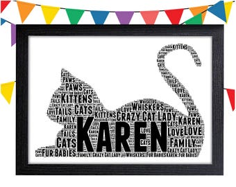 Cat Lover Gift Personalised Word Art Gifts Wall Prints Decor