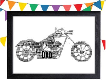 093d4e073c FATHERS DAY GIFT Motorcycle Gift Personalised Word Art Gift Wall Art Wall  Prints Art Gifts For Him Motorbike Gift Wall Art Cruiser Biker