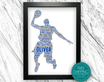 PERSONALISED Badminton Player Word Art Wall Print Gift Idea Male Sport Game Play